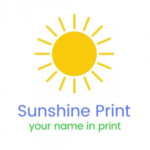Sunshine Print white square logo